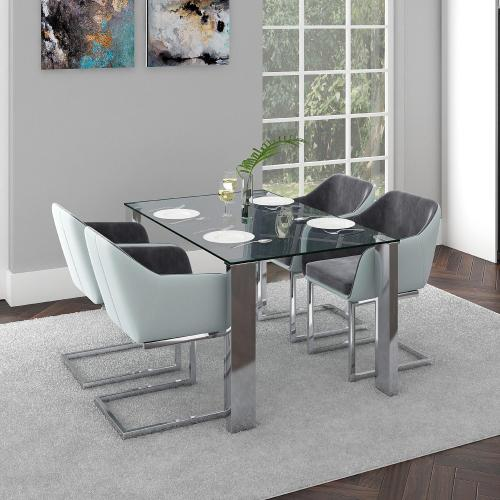 Frankfurt Rectangular Dining Table in Stainless Steel