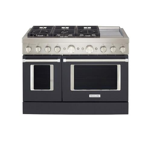KitchenAid® 48'' Smart Commercial-Style Dual Fuel Range with Griddle - Imperial Black