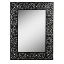 See Details - Black Stamped Metal Filigree Wall Mirror