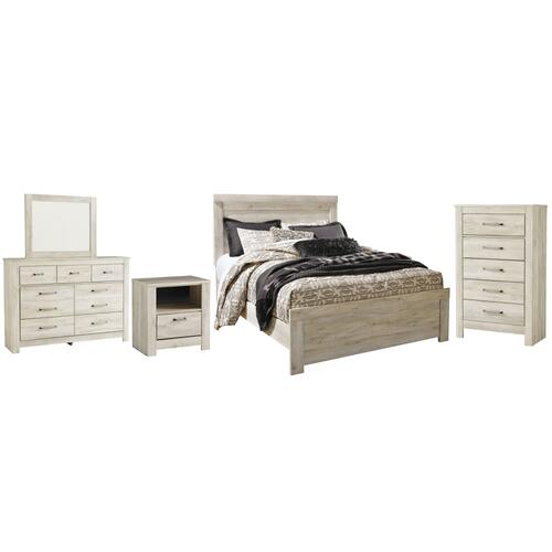 Product Image - Queen Panel Bed With Mirrored Dresser, Chest and Nightstand