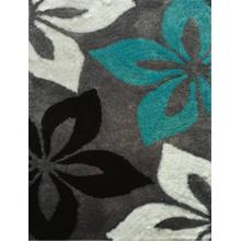 Vibrant Hand Tufted Modern Shag Lola 009 Area Rug by Rug Factory Plus - 5' x 7' / Gray Turquoise