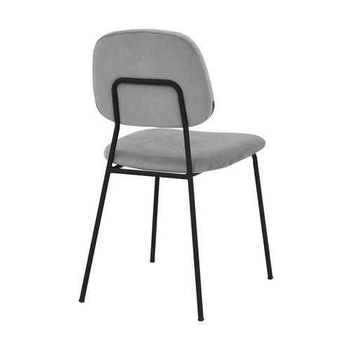 Lucy Modern Gray Velvet and Metal Dining Room Chairs - Set of 2