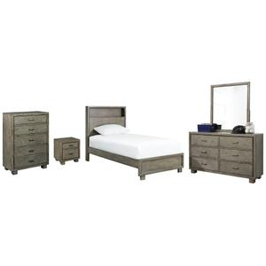 Full Bookcase Bed With Mirrored Dresser, Chest and Nightstand