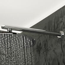 Wall-mount oval shower arm with flange.