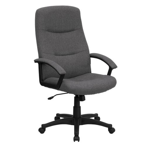 Gallery - High Back Gray Fabric Executive Swivel Office Chair with Two Line Horizontal Stitch Back and Arms