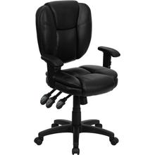 View Product - Mid-Back Black LeatherSoft Multifunction Swivel Ergonomic Task Office Chair with Pillow Top Cushioning and Arms