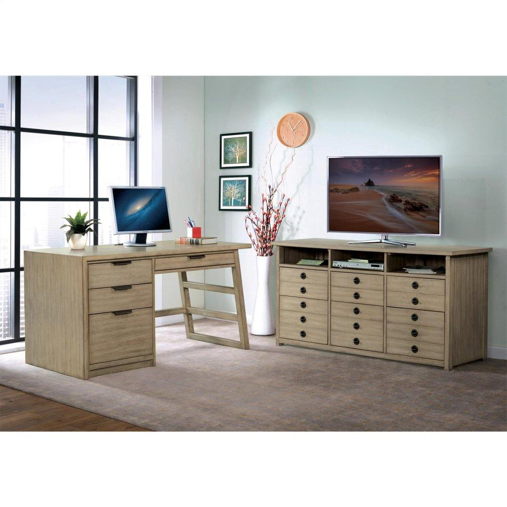 See Details - Perspectives - Single Pedestal Desk - Sun-drenched Acacia Finish