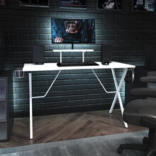 See Details - White Gaming Desk with Cup Holder, Headphone Hook, and Monitor\/Smartphone Stand