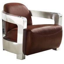 Milan Leather Aviator Armchair w/Chrome Arms - Brown
