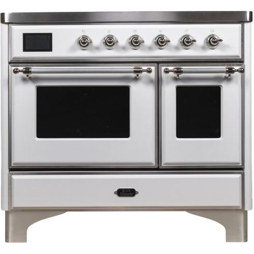 Majestic II 40 Inch Electric Freestanding Range in White with Chrome Trim