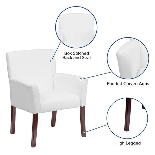 Gallery - White LeatherSoft Executive Side Reception Chair with Mahogany Legs