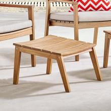 Breton Outdoor Patio Ash Wood Ottoman in Natural