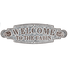 """See Details - Distressed Galvanized """"Welcome to the Cabin"""" Wall Decor"""