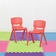 "2 Pack Red Plastic Stackable School Chair with 13.25"" Seat Height"