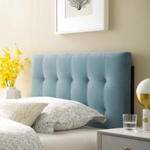 View Product - Lily Biscuit Tufted Twin Performance Velvet Headboard in Light Blue