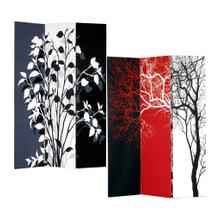 See Details - 3-Panel Double Sided Canvas Room Divider Screen - Tree