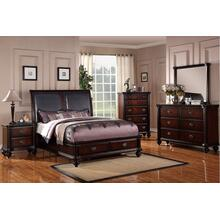 Xavier Master Bed, Queen, Dark-cherry-leather-hb