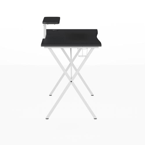 Flash Furniture - Black Gaming Desk and White Frame with Cup Holder, Headphone Hook, and Monitor\/Smartphone Stand