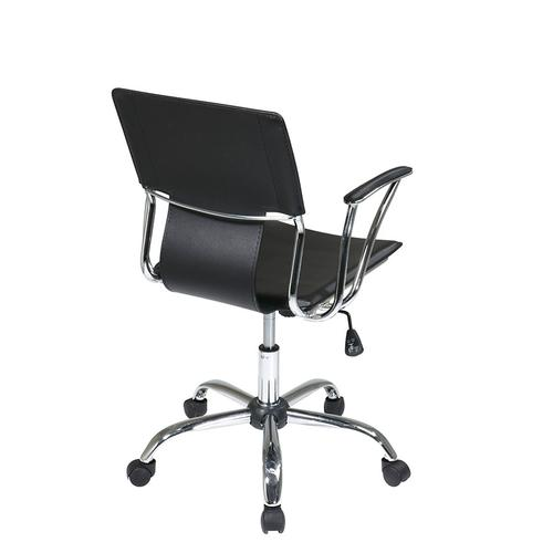 Dorado Office Chair With Fixed Padded Arms and Chrome Finish In Black
