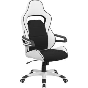 Gallery - High Back White Vinyl Executive Swivel Office Chair with Black Fabric Inserts and Arms