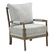Fletcher Spindle Chair In Smoke Fabric With Brush Charcoal Finish