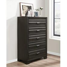 Loiret Antique Grey Finish Wood 5 Drawers Chest