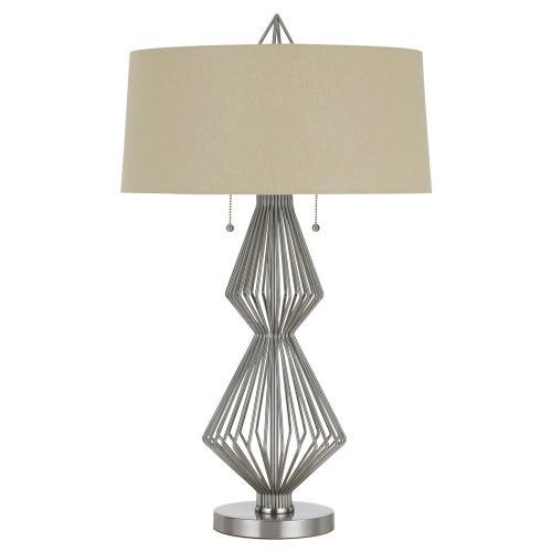 60W X 2 Ternimetal Table Lamp With Burlap Shade