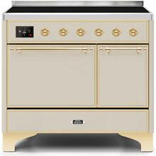 View Product - Majestic II 40 Inch Electric Freestanding Range in Antique White with Brass Trim