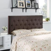 Clique Queen Upholstered Fabric Headboard in Dark Brown