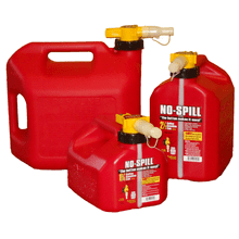 No-Spill® fuel containers assure that gasoline doesn't go anywhere except into your tank.