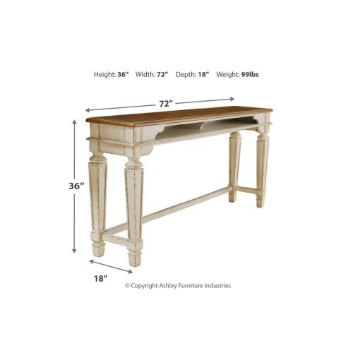 Realyn Long Counter Table Chipped White