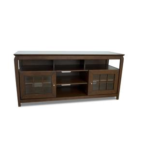 "60"" Wide Credenza, Solid Wood and Veneer In A Walnut Finish, Accommodates Most 65"" and Smaller Flat Panels"