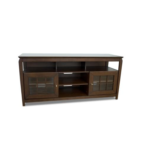 """60"""" Wide Credenza, Solid Wood and Veneer In A Walnut Finish, Accommodates Most 65"""" and Smaller Flat Panels"""