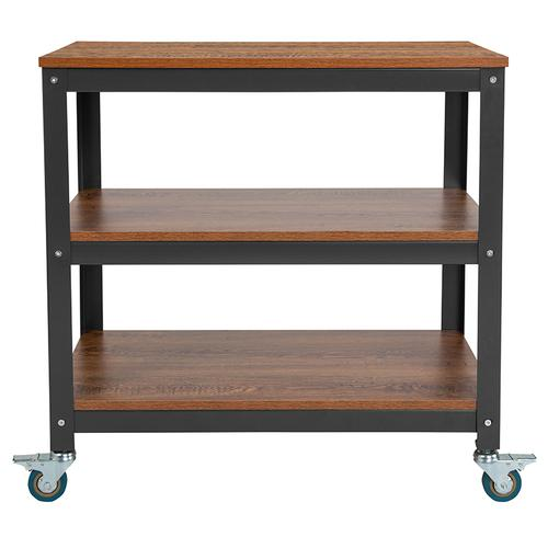 """Flash Furniture - Livingston Collection 30""""W Rolling Storage Cart with Metal Wheels in Brown Oak Wood Grain Finish"""