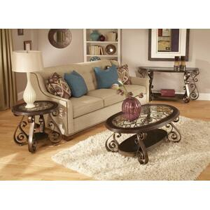 Bombay Sofa Table with Glass Top, Brown