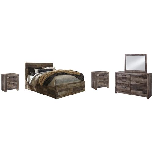 Ashley - Queen Panel Bed With 4 Storage Drawers With Mirrored Dresser and 2 Nightstands