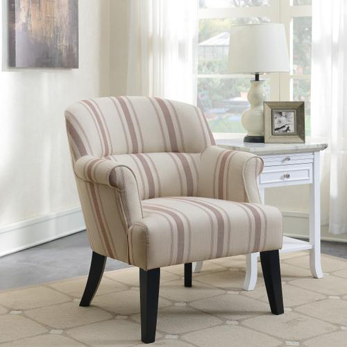 Upholstered Roll Arm Accent Chair in Cambridge Brick Stripe