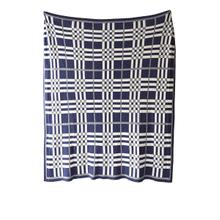 Blue & White Plaid Knit Throw