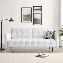 Cameron Tufted Fabric Sofa in White