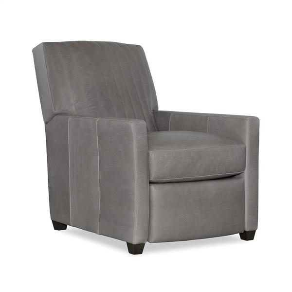 Leather Channel Back Manual Recliner