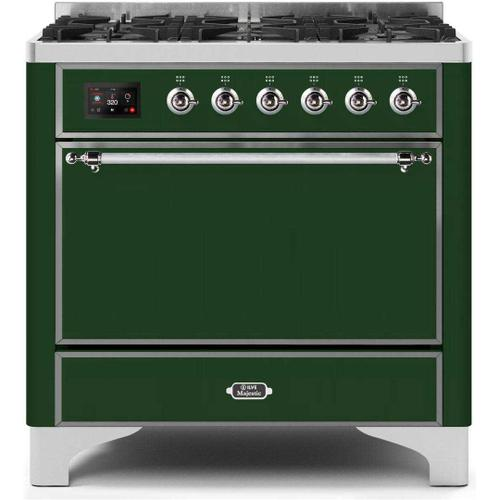 Ilve - Majestic II 36 Inch Dual Fuel Natural Gas Freestanding Range in Emerald Green with Chrome Trim