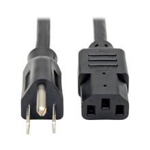 Desktop Computer Power Cable, NEMA 5-15P to C13 - 10A, 125V, 18 AWG, 12 ft. (3.66 m), Black