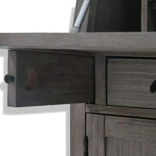 SECRETARY DESK  42in X 36in  Traditional Distressed Grey Desk with Electrical Outlet and USB Charg