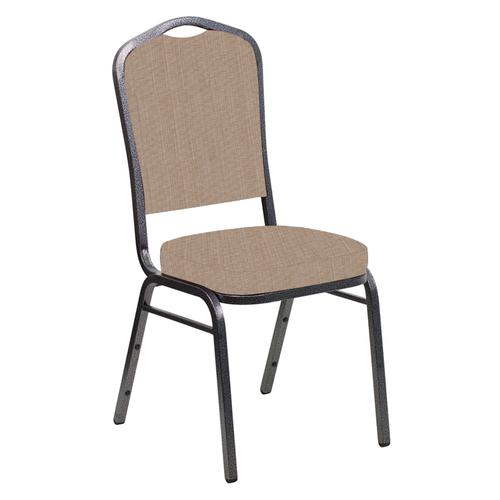Crown Back Banquet Chair in Sammie Joe Taupe Fabric - Silver Vein Frame