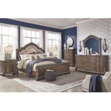 View Product - Queen Upholstered Sleigh Bed With Mirrored Dresser, Chest and 2 Nightstands