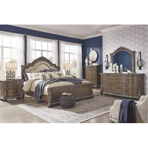 California King Upholstered Sleigh Bed With Mirrored Dresser, Chest and 2 Nightstands