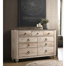 Imerland Contemporary White Wash Finish Patched Wood Top 7-drawer Dresser