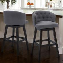 "Armen Living Celine 26"" Counter Height Barstool in Espresso Finish and Grey Fabric"