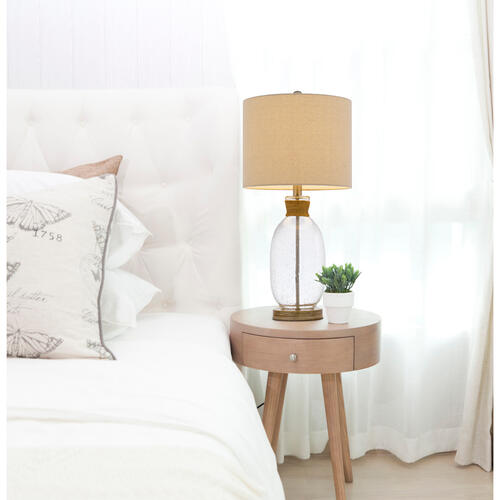 150W 3 way Seymour bubbled glass table lamp with resin base and hardback drum linen shade