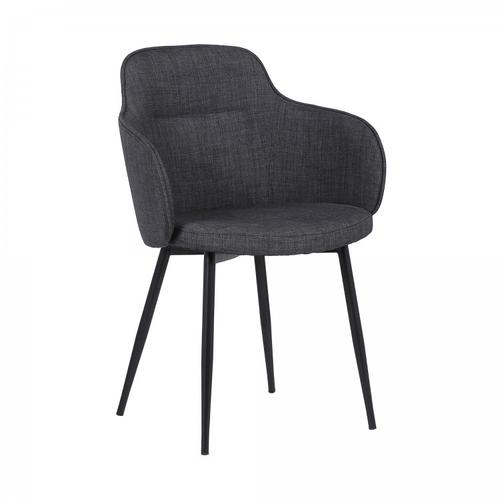 Tammy Contemporary Dining Chair in Black Powder Coated Finish and Charcoal Fabric